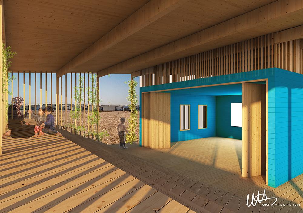 AGM Play Hub Refugee Camp, mallikuva sisältä